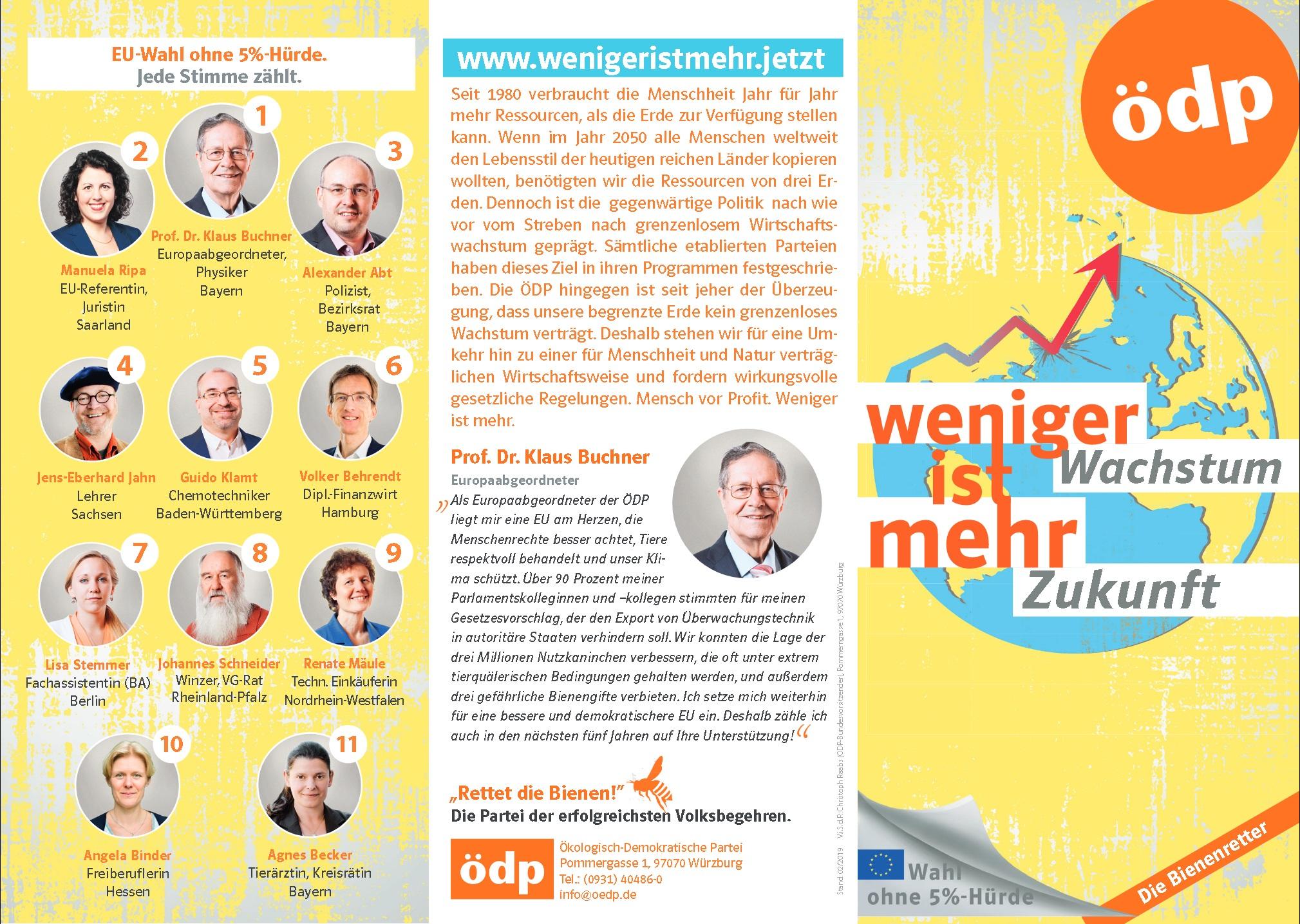 Flyer zur Europawahl 2019 - Spitzenkandidaten