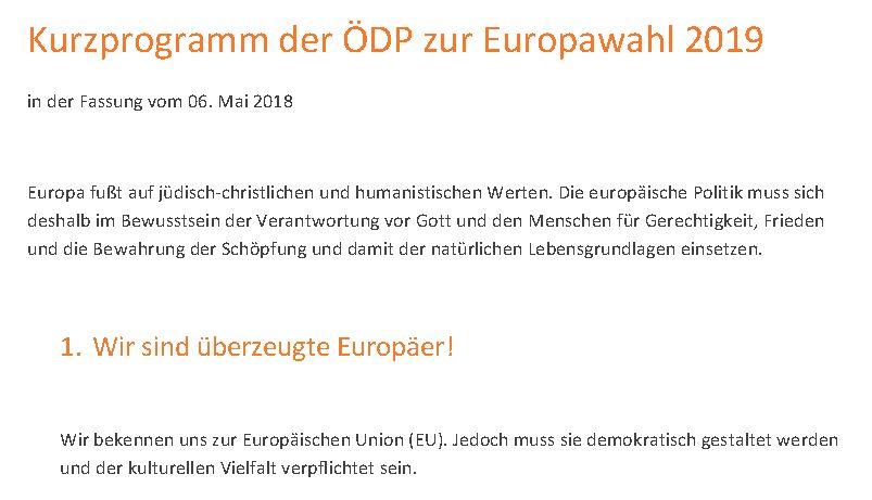 Kurzprogramm der ödp zur Europawahl 2019