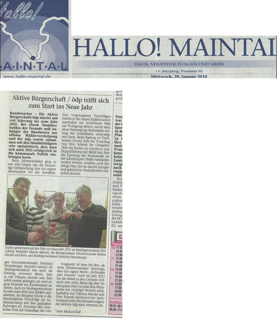 Bericht über das Neujahrstreffen in Hallo Maintal