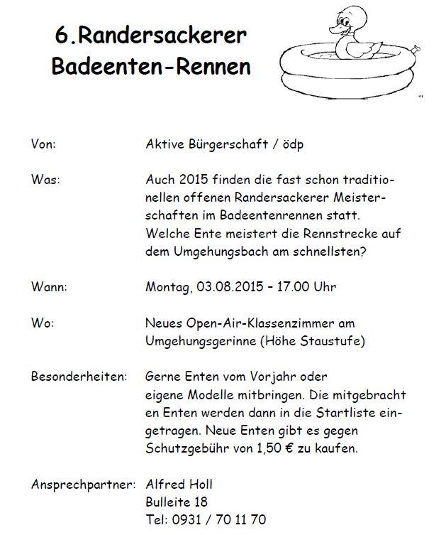 3.8.2015 - Ein absolutes Highlight des Ferienprogramms - Die offenen Randersackerer Meisterschaften im Badeenten-Rennen