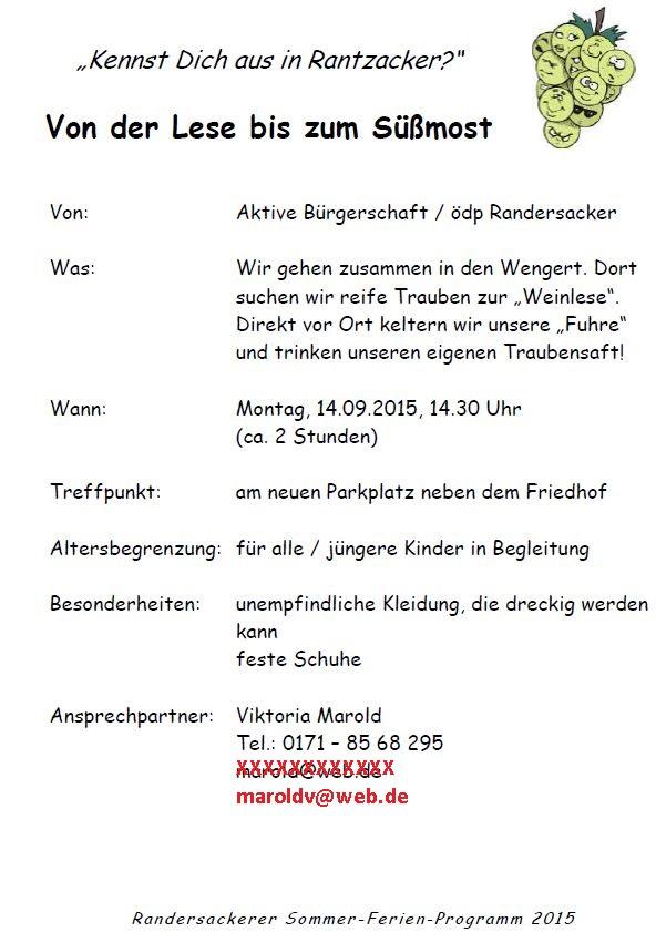 25.08.2014 - Kennst Dich aus in Rantzacker - Schlafen in Randersacker