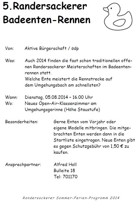 5.8.2014 - Ein absolutes Highlight des Ferienprogramms - Die offenen Randersackerer Meisterschaften im Badeenten-Rennen