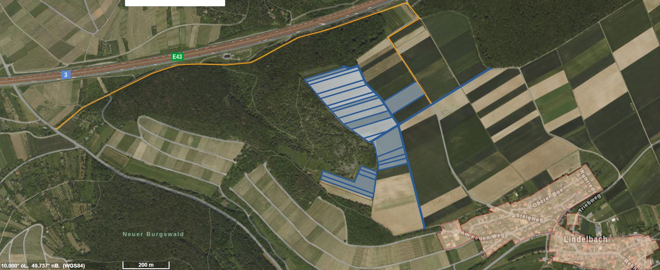 Hier die ursprünglich beantragte Fläche - blau - und der Weg entlang der Autobahn im Lützelgrund - orange -